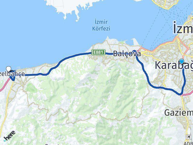 İzmir Karabağlar Güzelbahçe Arası Kaç Km? Arası Kaç Km Saat? Nerede Yol Haritası Yakıt, Rota ve Mesafe Hesaplama