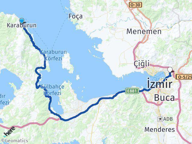 İzmir Karaburun Bayraklı Arası Kaç Km? Arası Kaç Km Saat? Nerede Yol Haritası Yakıt, Rota ve Mesafe Hesaplama