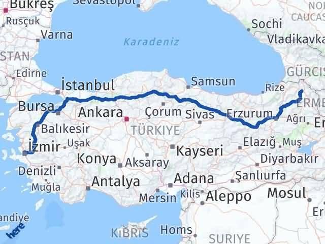 İzmir Karşıyaka   Ardahan Arası Kaç Km? Arası Kaç Km Saat? Nerede Yol Haritası Yakıt, Rota ve Mesafe Hesaplama