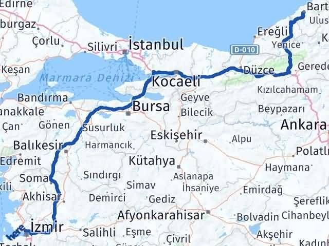 İzmir Karşıyaka   Bartın Arası Kaç Km? Arası Kaç Km Saat? Nerede Yol Haritası Yakıt, Rota ve Mesafe Hesaplama