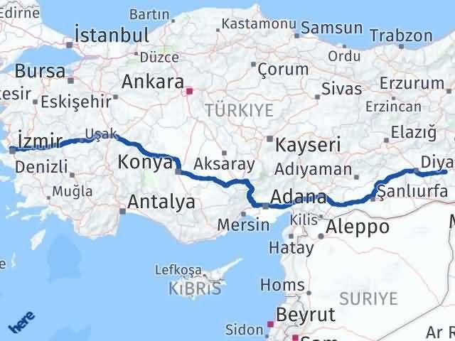 İzmir Karşıyaka   Batman Arası Kaç Km? Arası Kaç Km Saat? Nerede Yol Haritası Yakıt, Rota ve Mesafe Hesaplama