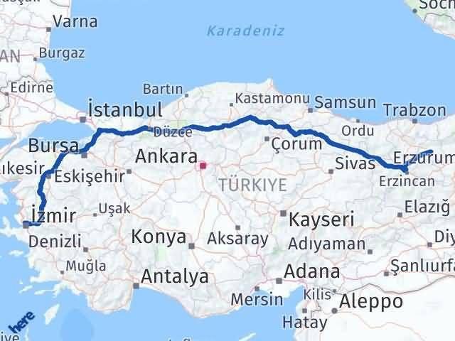 İzmir Karşıyaka   Bayburt Arası Kaç Km? Arası Kaç Km Saat? Nerede Yol Haritası Yakıt, Rota ve Mesafe Hesaplama