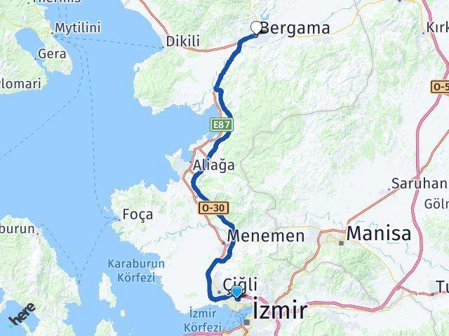 İzmir Karşıyaka Bergama Arası Kaç Km? Arası Kaç Km Saat? Nerede Yol Haritası Yakıt, Rota ve Mesafe Hesaplama