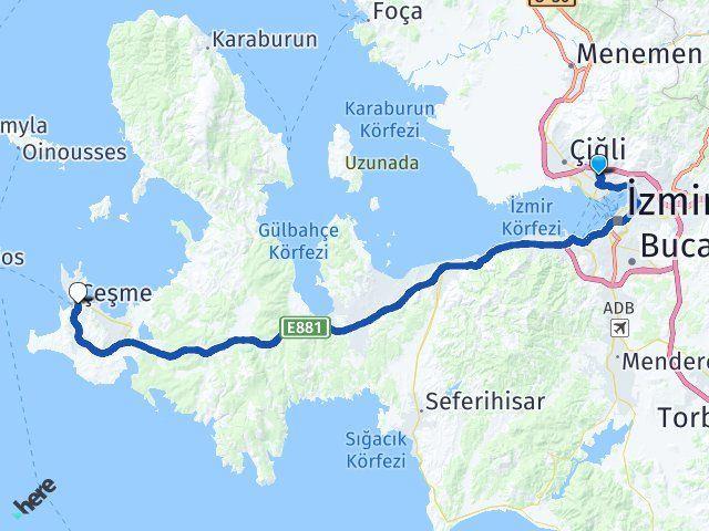 İzmir Karşıyaka Çeşme Arası Kaç Km? Arası Kaç Km Saat? Nerede Yol Haritası Yakıt, Rota ve Mesafe Hesaplama