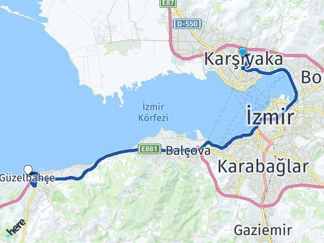 İzmir Karşıyaka Güzelbahçe Arası Kaç Km? Arası Kaç Km Saat? Nerede Yol Haritası Yakıt, Rota ve Mesafe Hesaplama