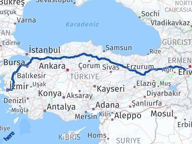 İzmir Karşıyaka   Iğdır Arası Kaç Km? Arası Kaç Km Saat? Nerede Yol Haritası Yakıt, Rota ve Mesafe Hesaplama