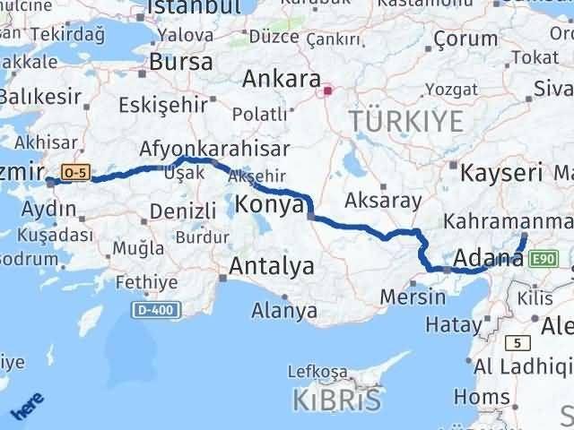 İzmir Karşıyaka   Maraş Arası Kaç Km? Arası Kaç Km Saat? Nerede Yol Haritası Yakıt, Rota ve Mesafe Hesaplama