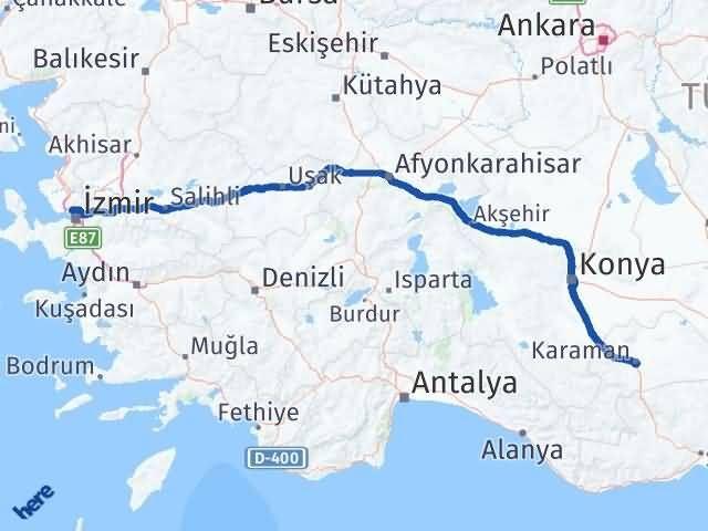 İzmir Karşıyaka   Karaman Arası Kaç Km? Arası Kaç Km Saat? Nerede Yol Haritası Yakıt, Rota ve Mesafe Hesaplama