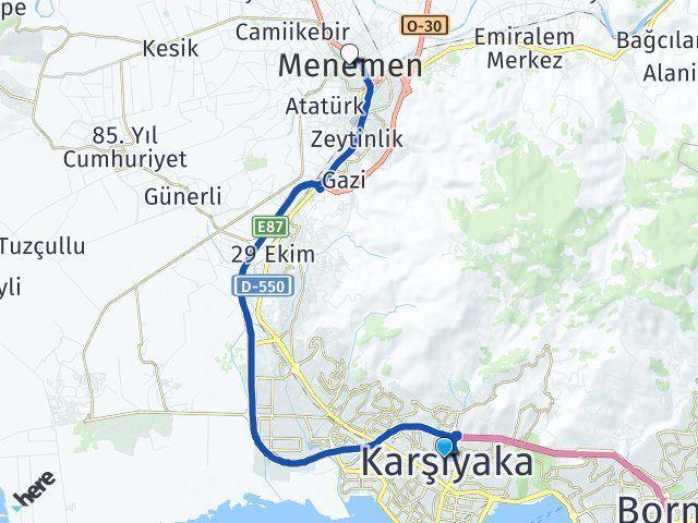 İzmir Karşıyaka Menemen Arası Kaç Km? Arası Kaç Km Saat? Nerede Yol Haritası Yakıt, Rota ve Mesafe Hesaplama
