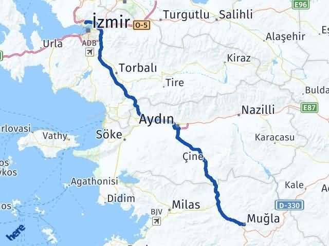 İzmir Karşıyaka   Muğla Arası Kaç Km? Arası Kaç Km Saat? Nerede Yol Haritası Yakıt, Rota ve Mesafe Hesaplama