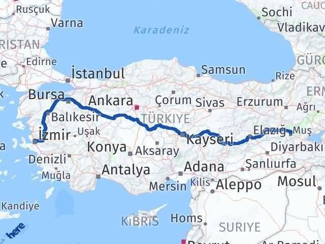 İzmir Karşıyaka   Muş Arası Kaç Km? Arası Kaç Km Saat? Nerede Yol Haritası Yakıt, Rota ve Mesafe Hesaplama
