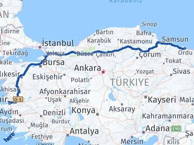 İzmir Karşıyaka   Ordu Arası Kaç Km? Arası Kaç Km Saat? Nerede Yol Haritası Yakıt, Rota ve Mesafe Hesaplama