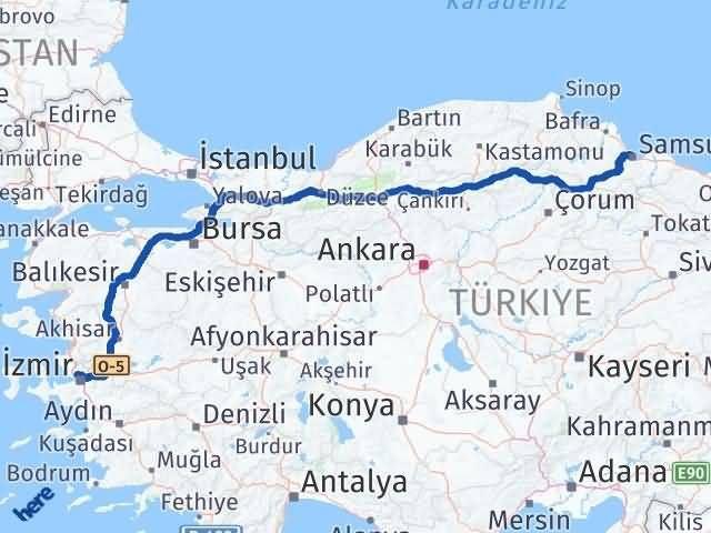 İzmir Karşıyaka   Samsun Arası Kaç Km? Arası Kaç Km Saat? Nerede Yol Haritası Yakıt, Rota ve Mesafe Hesaplama