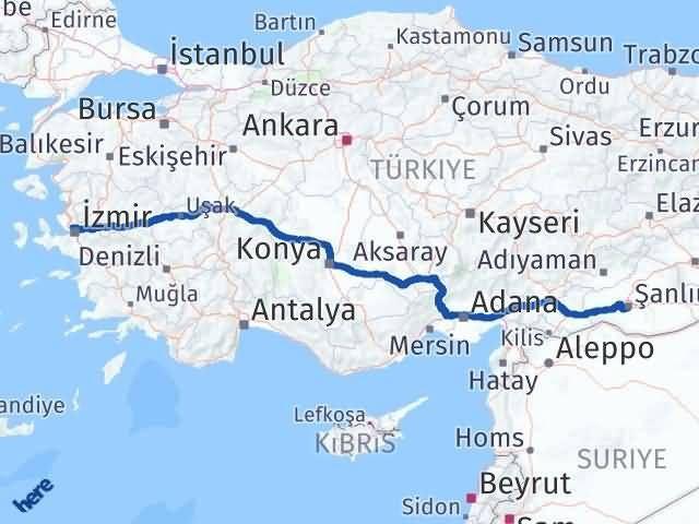 İzmir Karşıyaka   Şanlıurfa Arası Kaç Km? Arası Kaç Km Saat? Nerede Yol Haritası Yakıt, Rota ve Mesafe Hesaplama