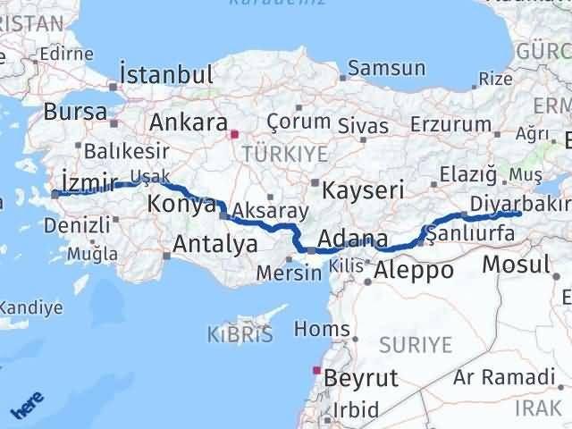 İzmir Karşıyaka   Siirt Arası Kaç Km? Arası Kaç Km Saat? Nerede Yol Haritası Yakıt, Rota ve Mesafe Hesaplama