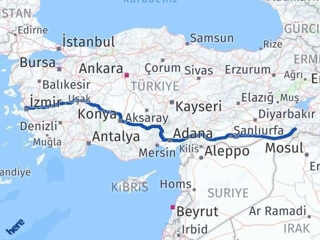İzmir Karşıyaka   Şırnak Arası Kaç Km? Arası Kaç Km Saat? Nerede Yol Haritası Yakıt, Rota ve Mesafe Hesaplama