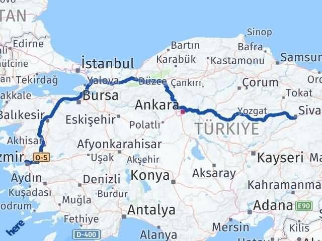 İzmir Karşıyaka   Sivas Arası Kaç Km? Arası Kaç Km Saat? Nerede Yol Haritası Yakıt, Rota ve Mesafe Hesaplama