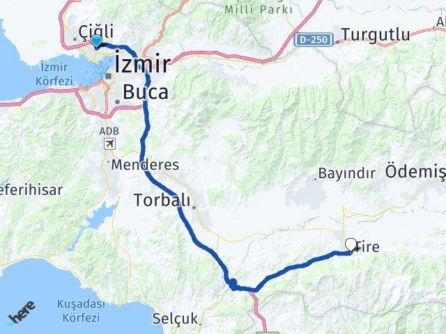 İzmir Karşıyaka Tire Arası Kaç Km? Arası Kaç Km Saat? Nerede Yol Haritası Yakıt, Rota ve Mesafe Hesaplama