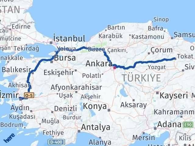 İzmir Karşıyaka   Tokat Arası Kaç Km? Arası Kaç Km Saat? Nerede Yol Haritası Yakıt, Rota ve Mesafe Hesaplama