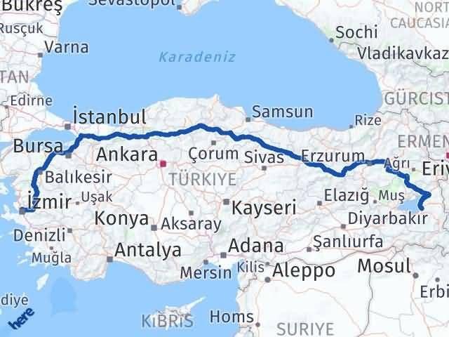 İzmir Karşıyaka   Van Arası Kaç Km? Arası Kaç Km Saat? Nerede Yol Haritası Yakıt, Rota ve Mesafe Hesaplama