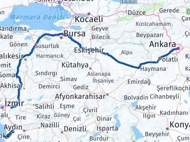 İzmir Kemalpaşa   Ankara Arası Kaç Km? Arası Kaç Km Saat? Nerede Yol Haritası Yakıt, Rota ve Mesafe Hesaplama