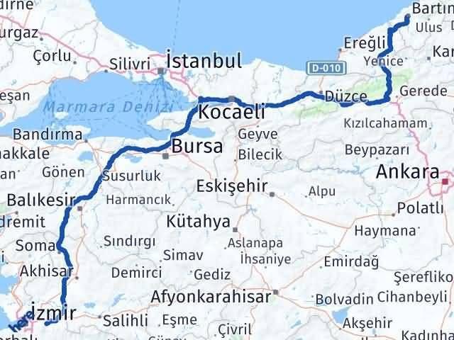 İzmir Kemalpaşa   Bartın Arası Kaç Km? Arası Kaç Km Saat? Nerede Yol Haritası Yakıt, Rota ve Mesafe Hesaplama
