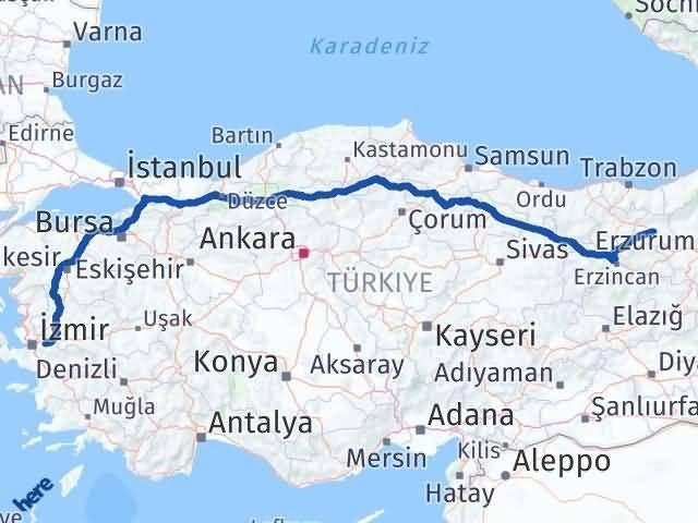 İzmir Kemalpaşa   Bayburt Arası Kaç Km? Arası Kaç Km Saat? Nerede Yol Haritası Yakıt, Rota ve Mesafe Hesaplama