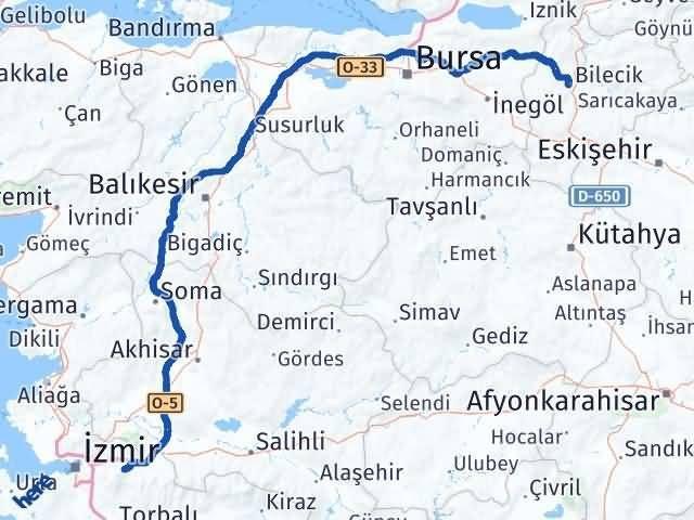 İzmir Kemalpaşa   Bilecik Arası Kaç Km? Arası Kaç Km Saat? Nerede Yol Haritası Yakıt, Rota ve Mesafe Hesaplama