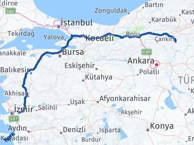 İzmir Kemalpaşa   Çankırı Arası Kaç Km? Arası Kaç Km Saat? Nerede Yol Haritası Yakıt, Rota ve Mesafe Hesaplama