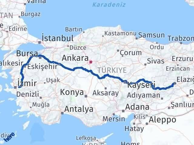 İzmir Kemalpaşa   Elazığ Arası Kaç Km? Arası Kaç Km Saat? Nerede Yol Haritası Yakıt, Rota ve Mesafe Hesaplama
