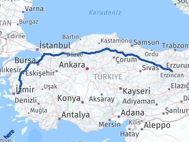 İzmir Kemalpaşa   Erzincan Arası Kaç Km? Arası Kaç Km Saat? Nerede Yol Haritası Yakıt, Rota ve Mesafe Hesaplama