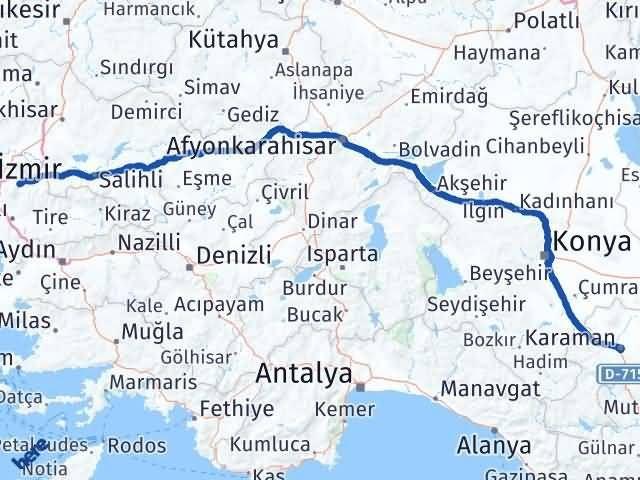 İzmir Kemalpaşa   Karaman Arası Kaç Km? Arası Kaç Km Saat? Nerede Yol Haritası Yakıt, Rota ve Mesafe Hesaplama