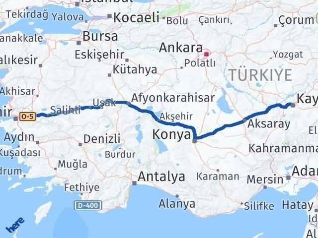 İzmir Kemalpaşa   Kayseri Arası Kaç Km? Arası Kaç Km Saat? Nerede Yol Haritası Yakıt, Rota ve Mesafe Hesaplama
