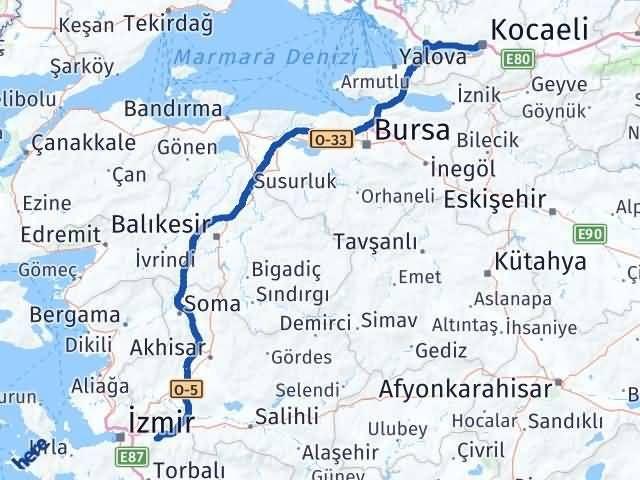 İzmir Kemalpaşa   Kocaeli Arası Kaç Km? Arası Kaç Km Saat? Nerede Yol Haritası Yakıt, Rota ve Mesafe Hesaplama