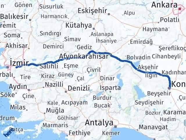 İzmir Kemalpaşa   Konya Arası Kaç Km? Arası Kaç Km Saat? Nerede Yol Haritası Yakıt, Rota ve Mesafe Hesaplama