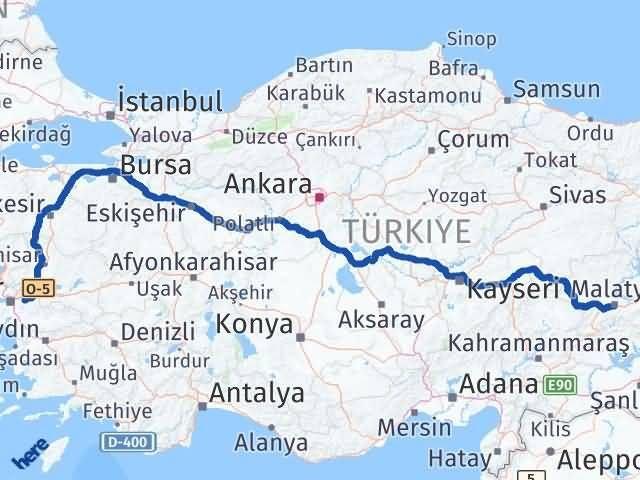 İzmir Kemalpaşa   Malatya Arası Kaç Km? Arası Kaç Km Saat? Nerede Yol Haritası Yakıt, Rota ve Mesafe Hesaplama