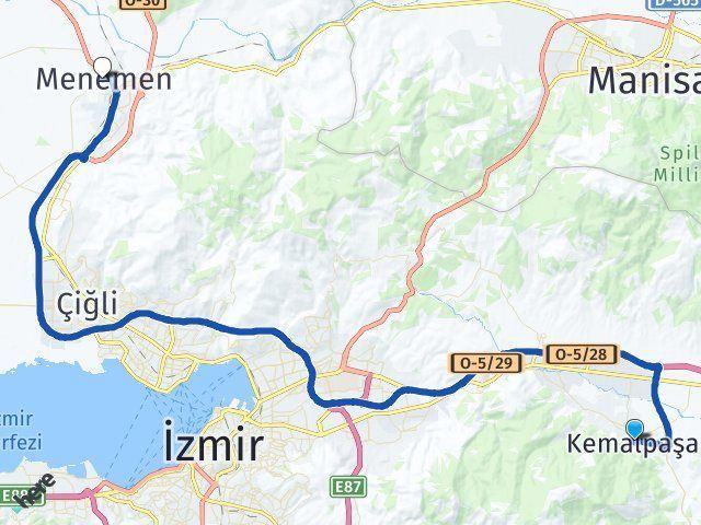 Kemalpaşa İzmir Menemen Arası Kaç Km? Arası Kaç Km Saat? Nerede Yol Haritası Yakıt, Rota ve Mesafe Hesaplama