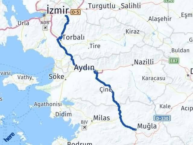 İzmir Kemalpaşa   Muğla Arası Kaç Km? Arası Kaç Km Saat? Nerede Yol Haritası Yakıt, Rota ve Mesafe Hesaplama