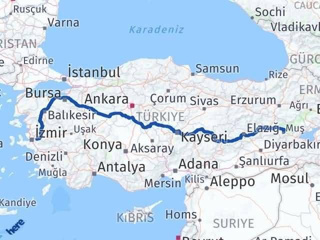 İzmir Kemalpaşa   Muş Arası Kaç Km? Arası Kaç Km Saat? Nerede Yol Haritası Yakıt, Rota ve Mesafe Hesaplama
