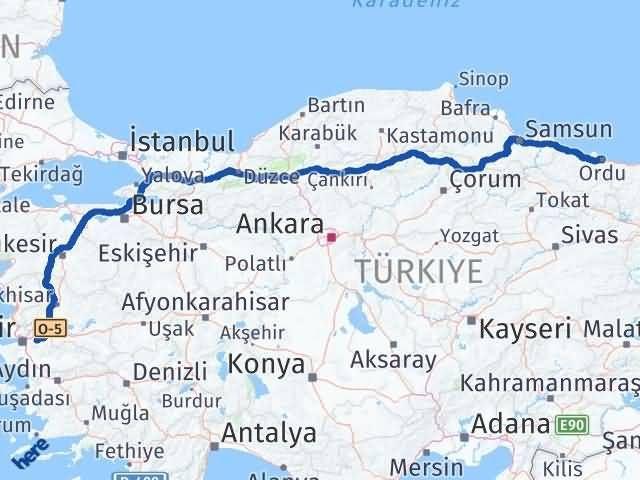 İzmir Kemalpaşa   Ordu Arası Kaç Km? Arası Kaç Km Saat? Nerede Yol Haritası Yakıt, Rota ve Mesafe Hesaplama