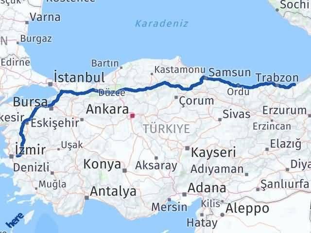 İzmir Kemalpaşa   Rize Arası Kaç Km? Arası Kaç Km Saat? Nerede Yol Haritası Yakıt, Rota ve Mesafe Hesaplama