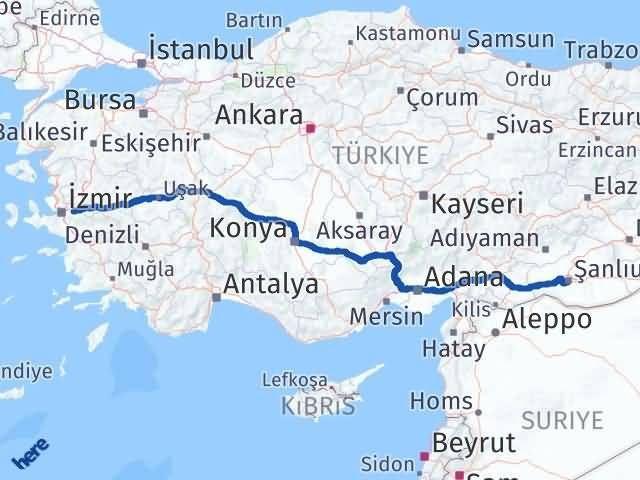 İzmir Kemalpaşa   Şanlıurfa Arası Kaç Km? Arası Kaç Km Saat? Nerede Yol Haritası Yakıt, Rota ve Mesafe Hesaplama