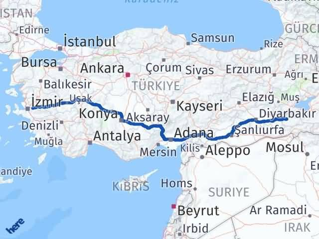 İzmir Kemalpaşa   Siirt Arası Kaç Km? Arası Kaç Km Saat? Nerede Yol Haritası Yakıt, Rota ve Mesafe Hesaplama