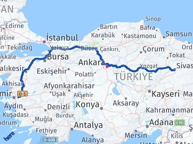 İzmir Kemalpaşa   Sivas Arası Kaç Km? Arası Kaç Km Saat? Nerede Yol Haritası Yakıt, Rota ve Mesafe Hesaplama