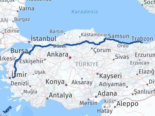 İzmir Kemalpaşa   Trabzon Arası Kaç Km? Arası Kaç Km Saat? Nerede Yol Haritası Yakıt, Rota ve Mesafe Hesaplama
