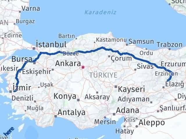İzmir Kemalpaşa   Tunceli Arası Kaç Km? Arası Kaç Km Saat? Nerede Yol Haritası Yakıt, Rota ve Mesafe Hesaplama