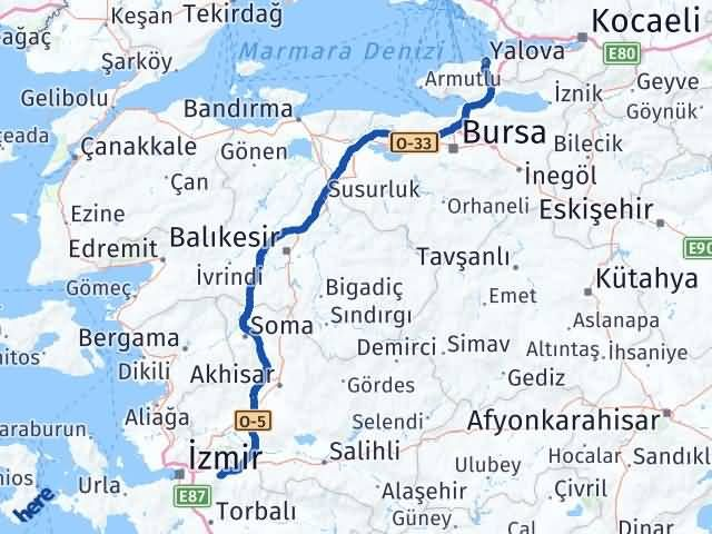 İzmir Kemalpaşa   Yalova Arası Kaç Km? Arası Kaç Km Saat? Nerede Yol Haritası Yakıt, Rota ve Mesafe Hesaplama