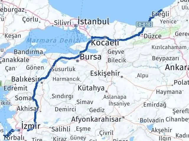 İzmir Kemalpaşa   Zonguldak Arası Kaç Km? Arası Kaç Km Saat? Nerede Yol Haritası Yakıt, Rota ve Mesafe Hesaplama