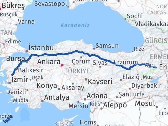 İzmir Kınık   Ağrı Arası Kaç Km? Arası Kaç Km Saat? Nerede Yol Haritası Yakıt, Rota ve Mesafe Hesaplama