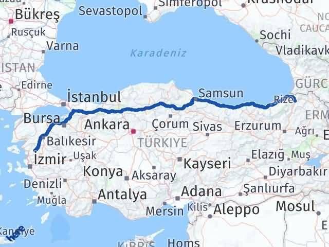 İzmir Kınık   Artvin Arası Kaç Km? Arası Kaç Km Saat? Nerede Yol Haritası Yakıt, Rota ve Mesafe Hesaplama